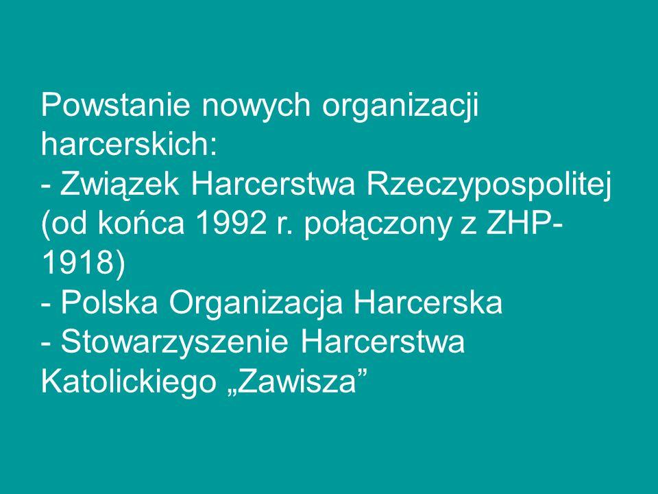 Powstanie nowych organizacji harcerskich: - Związek Harcerstwa Rzeczypospolitej (od końca 1992 r. połączony z ZHP- 1918) - Polska Organizacja Harcersk