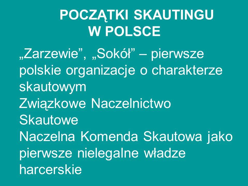 POCZĄTKI SKAUTINGU W POLSCE Zarzewie, Sokół – pierwsze polskie organizacje o charakterze skautowym Związkowe Naczelnictwo Skautowe Naczelna Komenda Sk