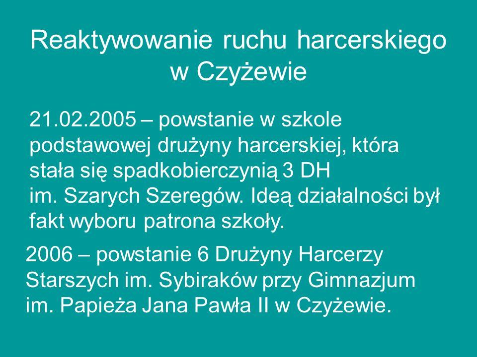 Reaktywowanie ruchu harcerskiego w Czyżewie 21.02.2005 – powstanie w szkole podstawowej drużyny harcerskiej, która stała się spadkobierczynią 3 DH im.