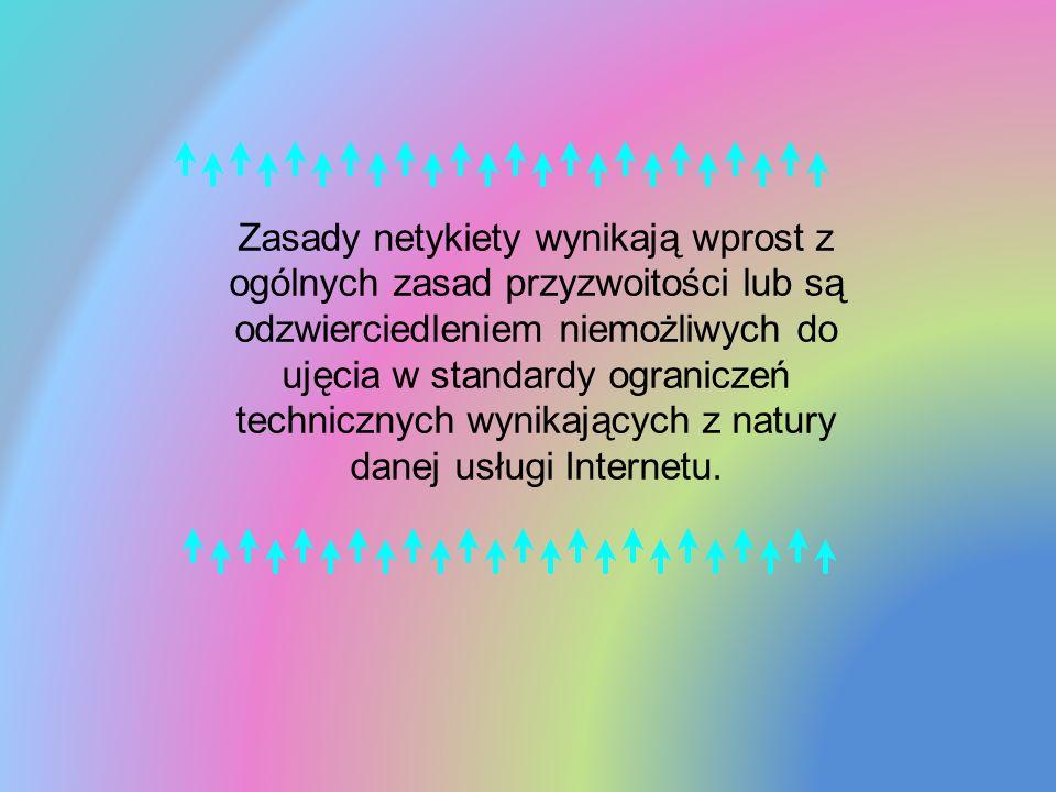 Zasady netykiety wynikają wprost z ogólnych zasad przyzwoitości lub są odzwierciedleniem niemożliwych do ujęcia w standardy ograniczeń technicznych wy