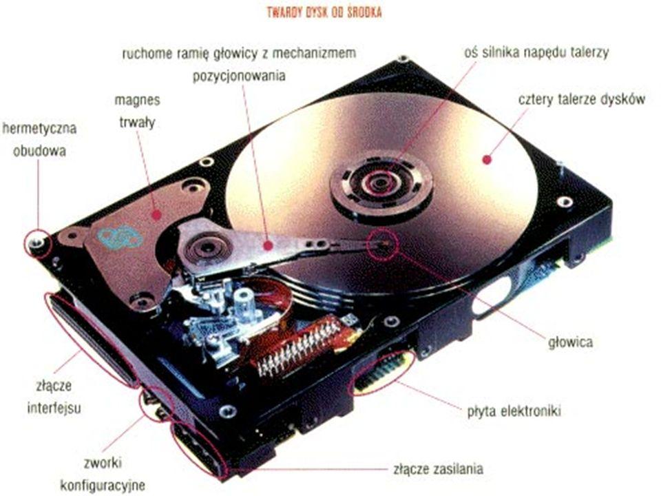 Dysk twardy (kilkaset GB) HDD (Hard Disc Driver) Jednym z pierwszych modeli był Segate ST-506 o pojemności 5 MB. Jest to urządzenie pamięciowe, będące