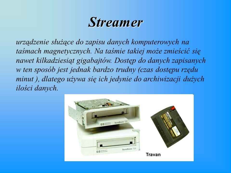 Streamer urządzenie służące do zapisu danych komputerowych na taśmach magnetycznych.