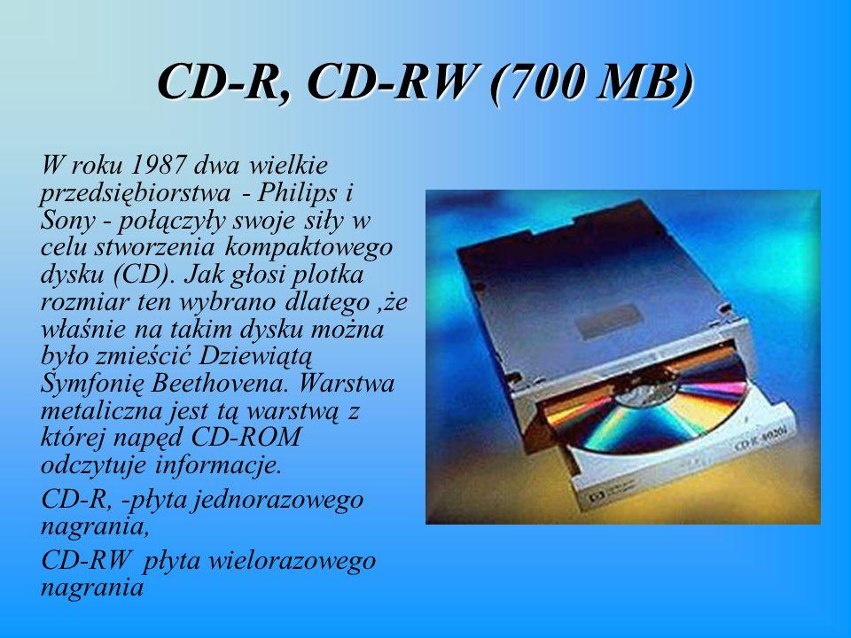 CD-R, CD-RW (700 MB) W roku 1987 dwa wielkie przedsiębiorstwa - Philips i Sony - połączyły swoje siły w celu stworzenia kompaktowego dysku (CD).