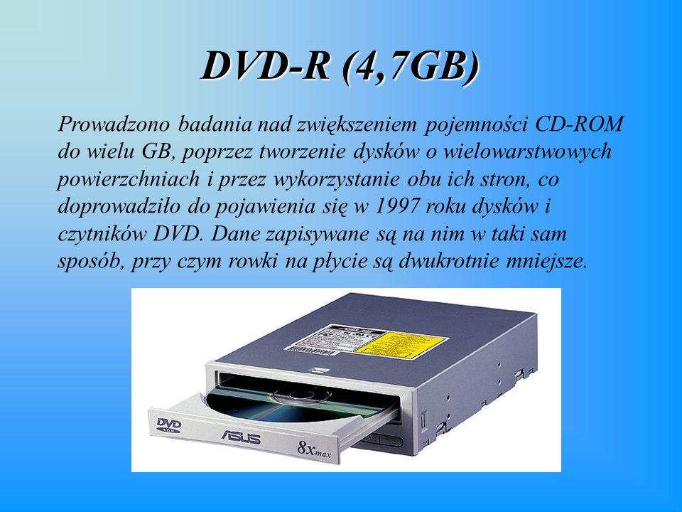 DVD-R (4,7GB) Prowadzono badania nad zwiększeniem pojemności CD-ROM do wielu GB, poprzez tworzenie dysków o wielowarstwowych powierzchniach i przez wykorzystanie obu ich stron, co doprowadziło do pojawienia się w 1997 roku dysków i czytników DVD.