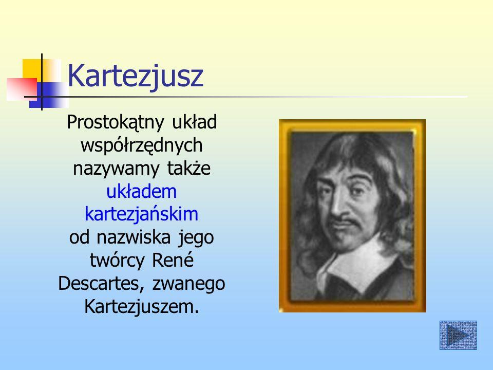Kartezjusz Prostokątny układ współrzędnych nazywamy także układem kartezjańskim od nazwiska jego twórcy René Descartes, zwanego Kartezjuszem.