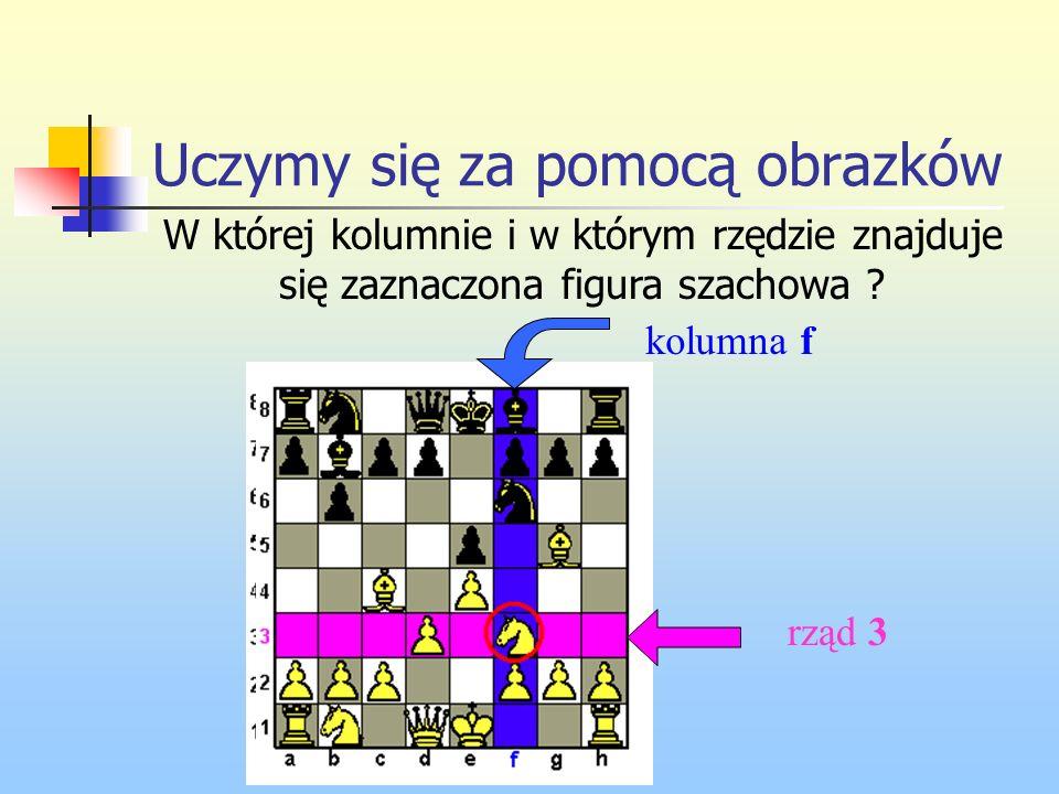 Uczymy się za pomocą obrazków W której kolumnie i w którym rzędzie znajduje się zaznaczona figura szachowa ? rząd 3 kolumna f