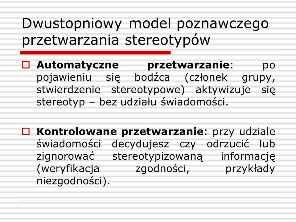 Dwustopniowy model poznawczego przetwarzania stereotypów Automatyczne przetwarzanie: po pojawieniu się bodźca (członek grupy, stwierdzenie stereotypowe) aktywizuje się stereotyp – bez udziału świadomości.