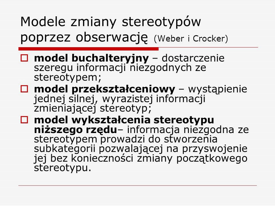 Modele zmiany stereotypów poprzez obserwację (Weber i Crocker) model buchalteryjny – dostarczenie szeregu informacji niezgodnych ze stereotypem; model przekształceniowy – wystąpienie jednej silnej, wyrazistej informacji zmieniającej stereotyp; model wykształcenia stereotypu niższego rzędu– informacja niezgodna ze stereotypem prowadzi do stworzenia subkategorii pozwalającej na przyswojenie jej bez konieczności zmiany początkowego stereotypu.