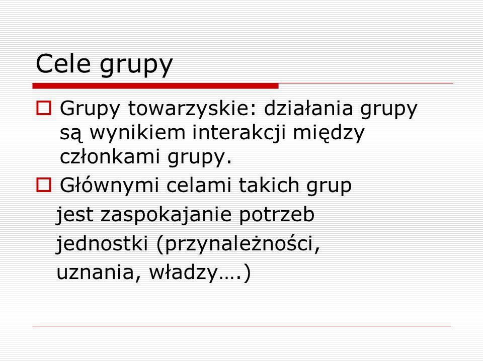Cele grupy Grupy towarzyskie: działania grupy są wynikiem interakcji między członkami grupy.