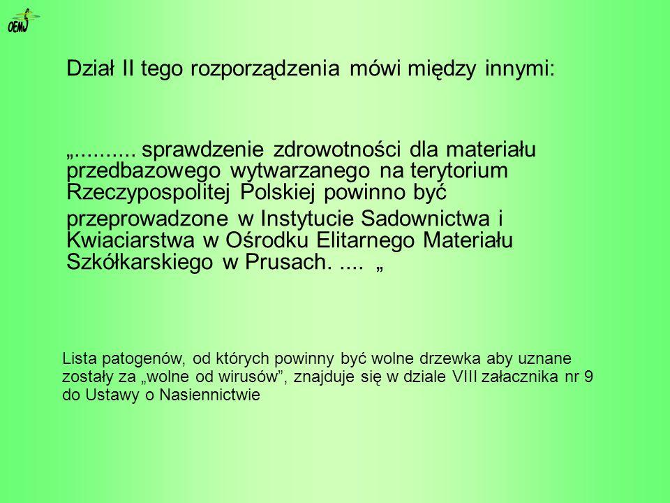 Dział II tego rozporządzenia mówi między innymi:.......... sprawdzenie zdrowotności dla materiału przedbazowego wytwarzanego na terytorium Rzeczypospo