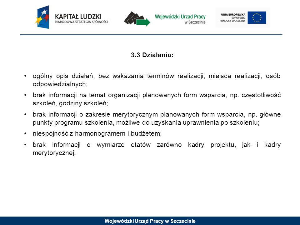 Wojewódzki Urząd Pracy w Szczecinie 3.3 Działania: ogólny opis działań, bez wskazania terminów realizacji, miejsca realizacji, osób odpowiedzialnych; brak informacji na temat organizacji planowanych form wsparcia, np.