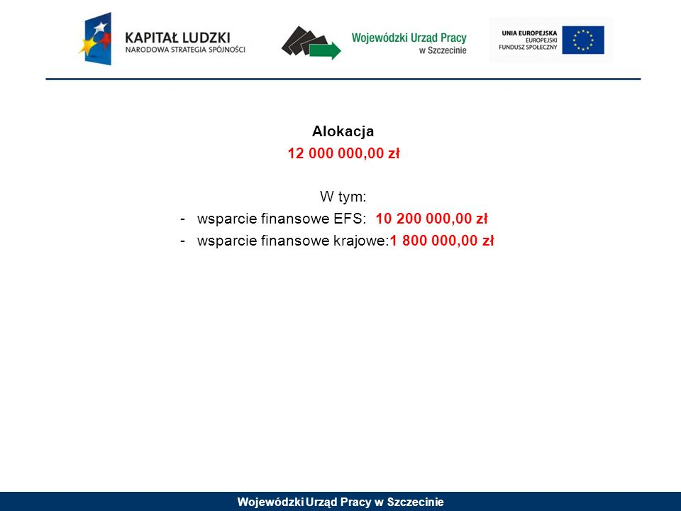 Wojewódzki Urząd Pracy w Szczecinie Alokacja 12 000 000,00 zł W tym: -wsparcie finansowe EFS: 10 200 000,00 zł -wsparcie finansowe krajowe:1 800 000,00 zł