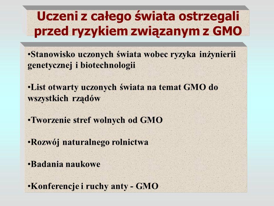 Uczeni z całego świata ostrzegali przed ryzykiem związanym z GMO Stanowisko uczonych świata wobec ryzyka inżynierii genetycznej i biotechnologii List