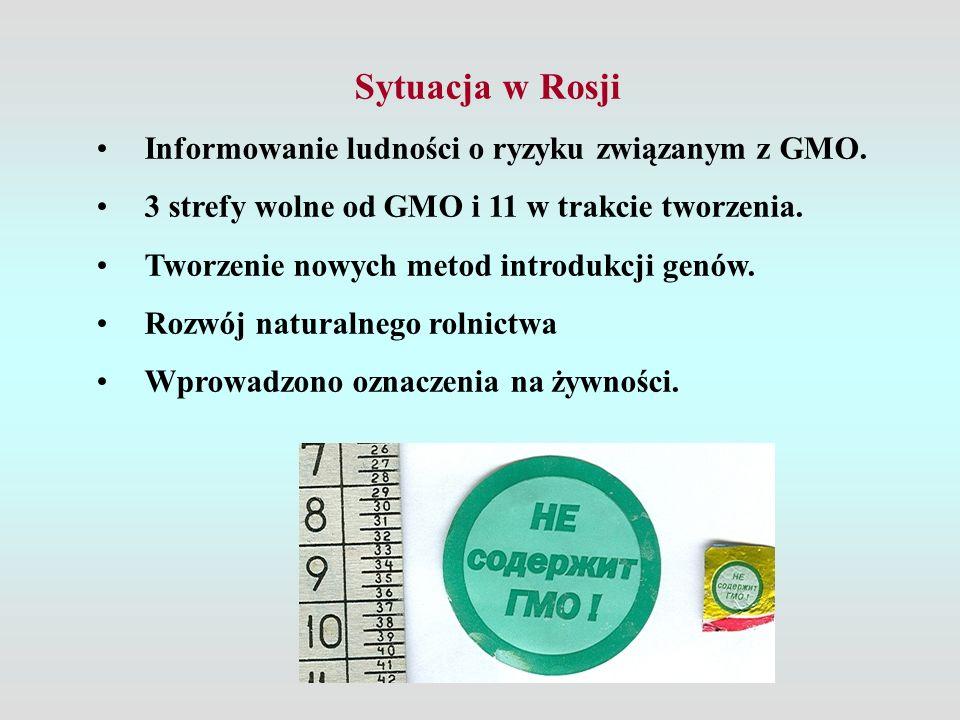 Sytuacja w Rosji Informowanie ludności o ryzyku związanym z GMO. 3 strefy wolne od GMO i 11 w trakcie tworzenia. Tworzenie nowych metod introdukcji ge
