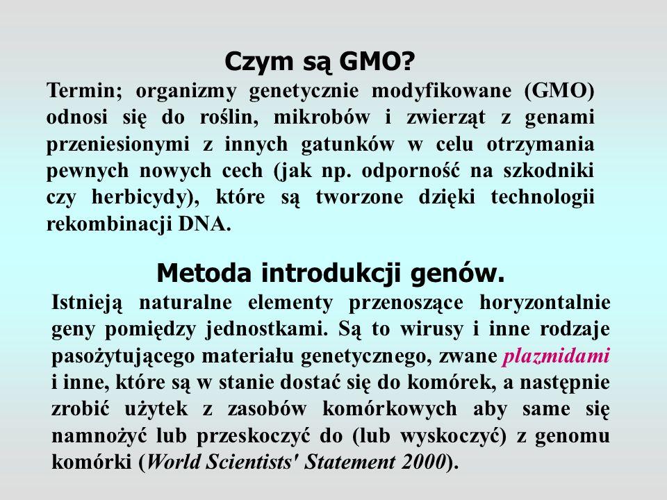 Metoda introdukcji genów. Istnieją naturalne elementy przenoszące horyzontalnie geny pomiędzy jednostkami. Są to wirusy i inne rodzaje pasożytującego