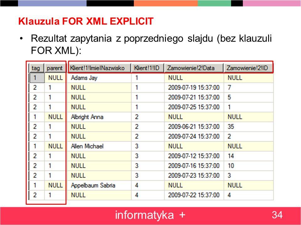 Klauzula FOR XML EXPLICIT 34 informatyka + Rezultat zapytania z poprzedniego slajdu (bez klauzuli FOR XML):