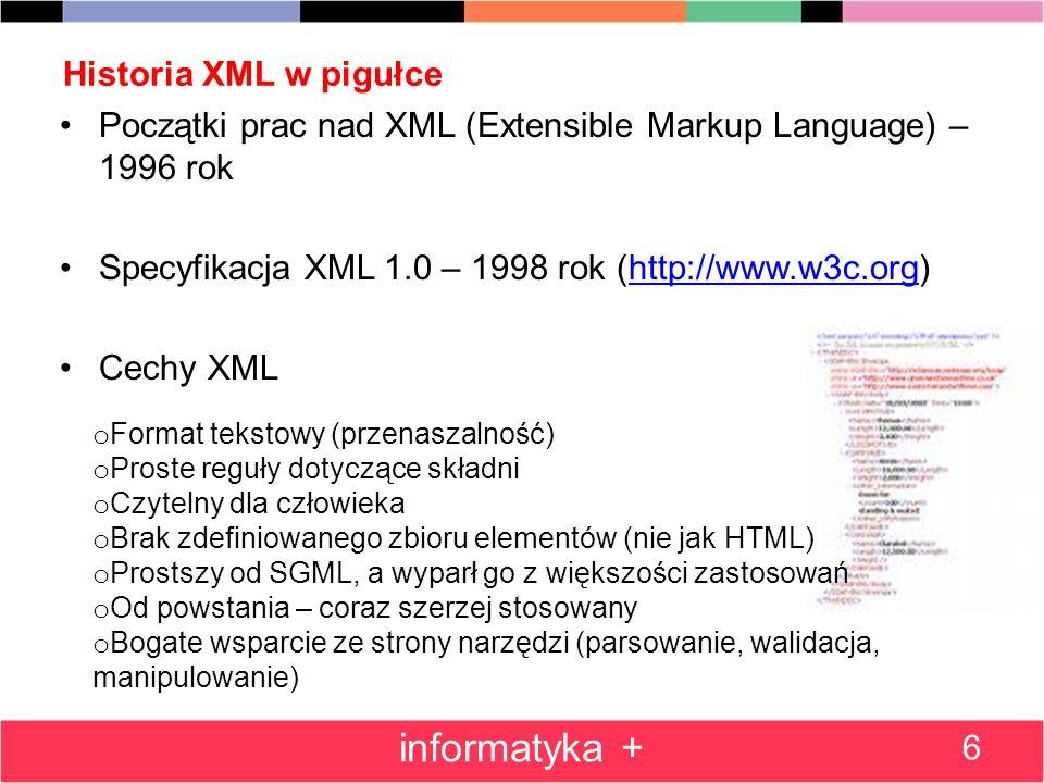 Historia XML w pigułce Początki prac nad XML (Extensible Markup Language) – 1996 rok Specyfikacja XML 1.0 – 1998 rok (http://www.w3c.org)http://www.w3