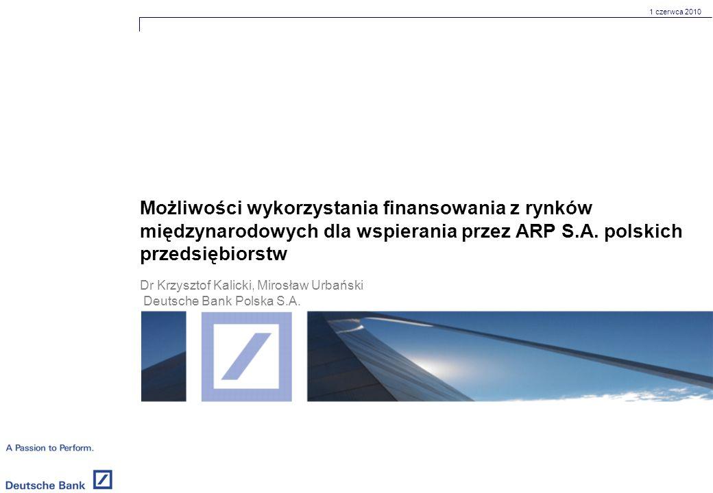 1 czerwca 2010 Możliwości wykorzystania finansowania z rynków międzynarodowych dla wspierania przez ARP S.A.