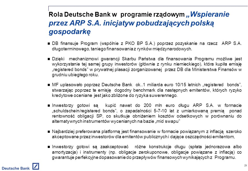 Rola Deutsche Bank w programie rządowym Wspieranie przez ARP S.A.