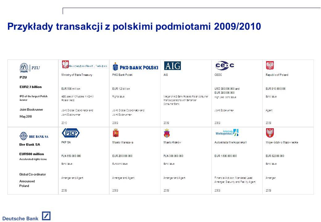 Przykłady transakcji z polskimi podmiotami 2009/2010