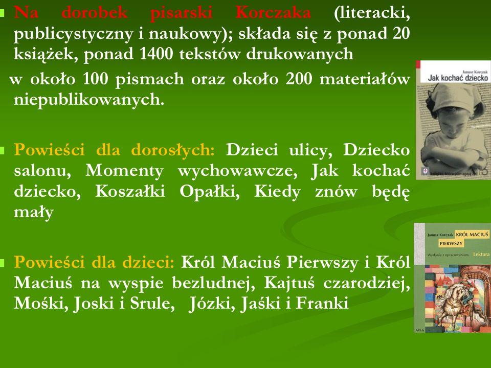 Na dorobek pisarski Korczaka (literacki, publicystyczny i naukowy); składa się z ponad 20 książek, ponad 1400 tekstów drukowanych w około 100 pismach