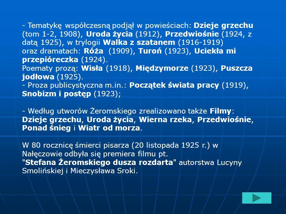 Twórczość -Zbiory prozy: Opowiadania opublikowane pod pseudonimem Maurycy Zych (1895, m.in. Doktor Piotr, Siłaczka) oraz Rozdziobią nas kruki, wrony..