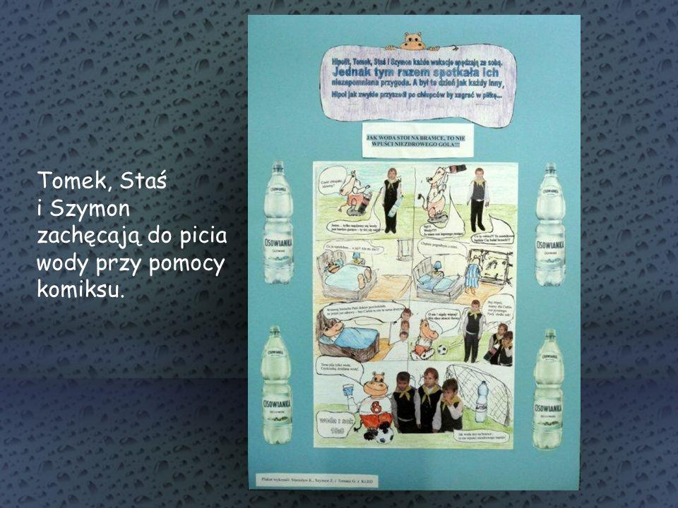 Tomek, Staś i Szymon zachęcają do picia wody przy pomocy komiksu.