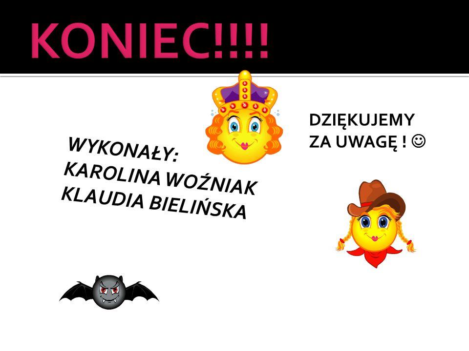 W Y K O N A Ł Y : K A R O L I N A W O Ź N I A K K L A U D I A B I E L I Ń S K A DZIĘKUJEMY ZA UWAGĘ !