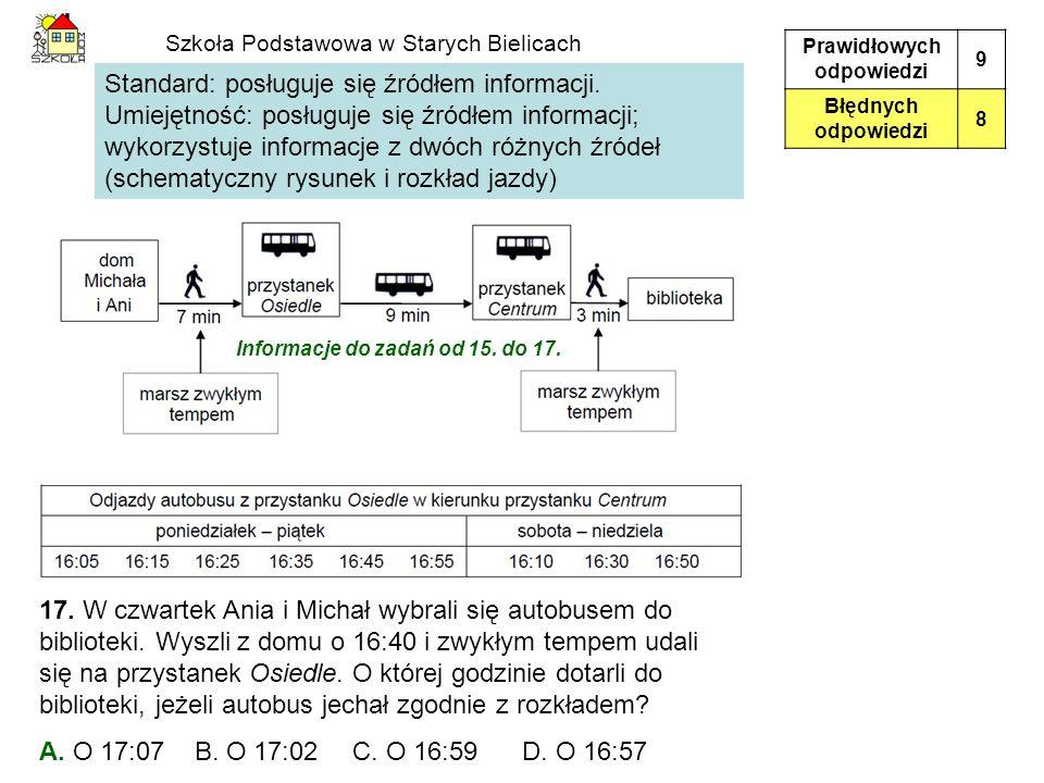 Standard: posługuje się źródłem informacji. Umiejętność: posługuje się źródłem informacji; wykorzystuje informacje z dwóch różnych źródeł (schematyczn