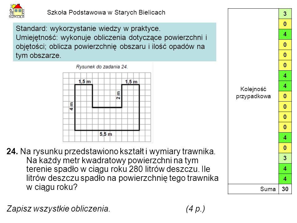 Szkoła Podstawowa w Starych Bielicach 24. Na rysunku przedstawiono kształt i wymiary trawnika. Na każdy metr kwadratowy powierzchni na tym terenie spa