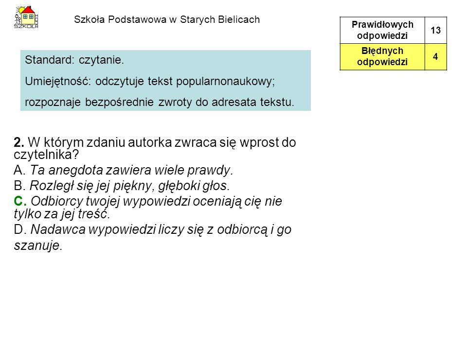 Szkoła Podstawowa w Starych Bielicach 2. W którym zdaniu autorka zwraca się wprost do czytelnika? A. Ta anegdota zawiera wiele prawdy. B. Rozległ się