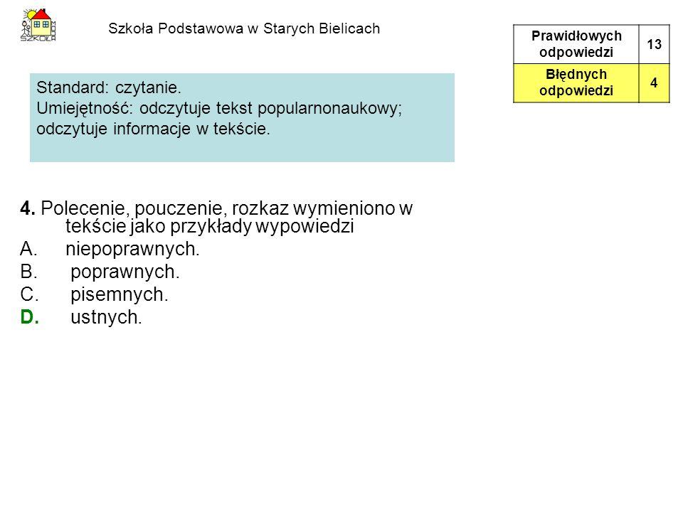 Szkoła Podstawowa w Starych Bielicach 4. Polecenie, pouczenie, rozkaz wymieniono w tekście jako przykłady wypowiedzi A.niepoprawnych. B. poprawnych. C