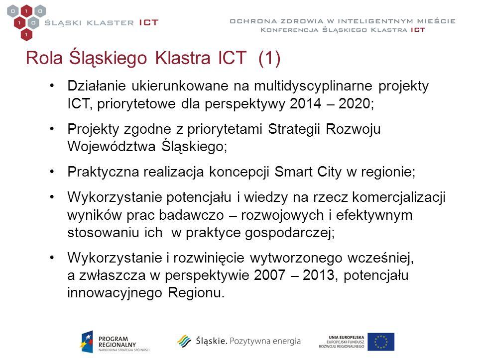 Rola Śląskiego Klastra ICT (1) Działanie ukierunkowane na multidyscyplinarne projekty ICT, priorytetowe dla perspektywy 2014 – 2020; Projekty zgodne z