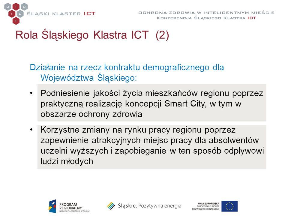 Rola Śląskiego Klastra ICT (2) Działanie na rzecz kontraktu demograficznego dla Województwa Śląskiego: Podniesienie jakości życia mieszkańców regionu