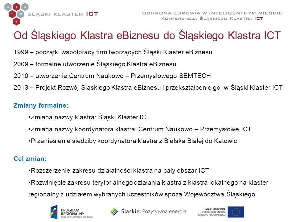 Od Śląskiego Klastra eBiznesu do Śląskiego Klastra ICT 1999 – początki współpracy firm tworzących Śląski Klaster eBiznesu 2009 – formalne utworzenie Ś