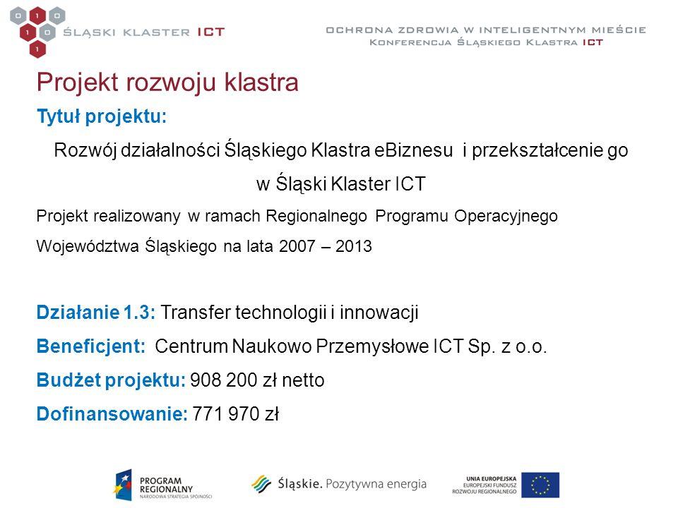 Projekt rozwoju klastra Tytuł projektu: Rozwój działalności Śląskiego Klastra eBiznesu i przekształcenie go w Śląski Klaster ICT Projekt realizowany w