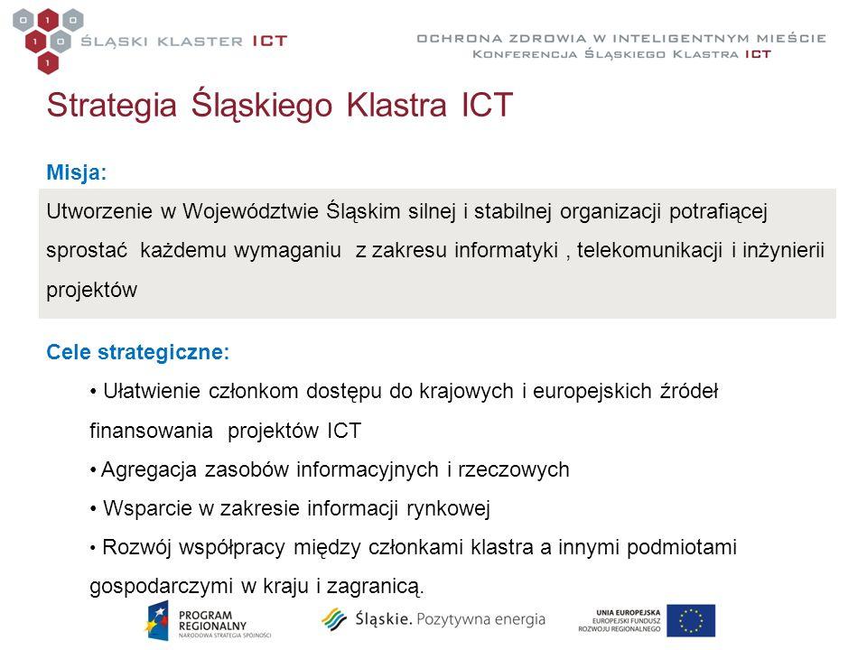 Strategia Śląskiego Klastra ICT Misja: Utworzenie w Województwie Śląskim silnej i stabilnej organizacji potrafiącej sprostać każdemu wymaganiu z zakre