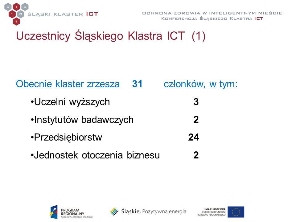 Uczestnicy Śląskiego Klastra ICT (1) Obecnie klaster zrzesza 31członków, w tym: Uczelni wyższych3 Instytutów badawczych2 Przedsiębiorstw 24 Jednostek
