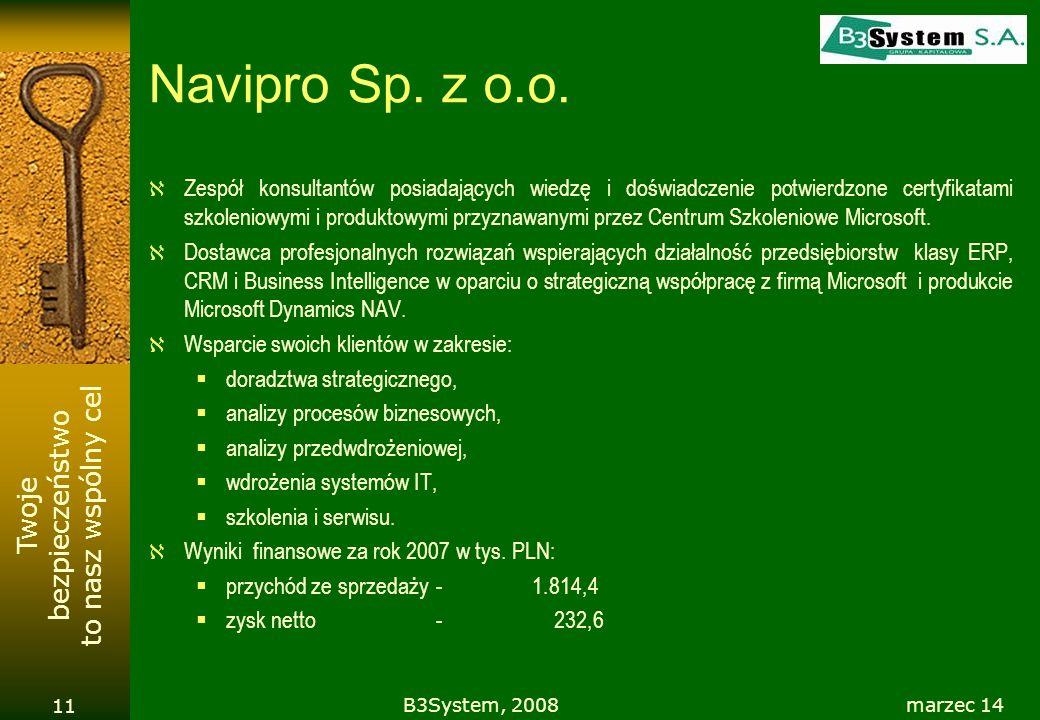 Twoje bezpieczeństwo to nasz wspólny cel Navipro Sp. z o.o. Zespół konsultantów posiadających wiedzę i doświadczenie potwierdzone certyfikatami szkole