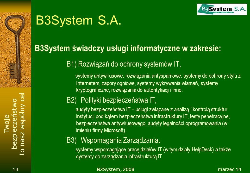 Twoje bezpieczeństwo to nasz wspólny cel marzec 14B3System, 2008 14 B3System S.A. B3System świadczy usługi informatyczne w zakresie: B1) Rozwiązań do