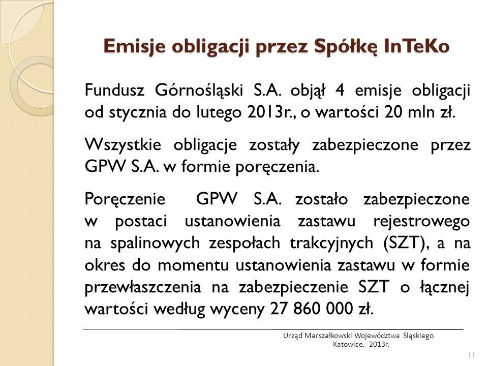 Emisje obligacji przez Spółkę InTeKo Fundusz Górnośląski S.A. objął 4 emisje obligacji od stycznia do lutego 2013r., o wartości 20 mln zł. Wszystkie o