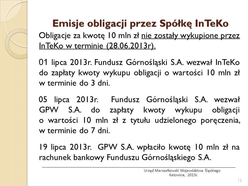 Obligacje za kwotę 10 mln zł nie zostały wykupione przez InTeKo w terminie (28.06.2013r). 01 lipca 2013r. Fundusz Górnośląski S.A. wezwał InTeKo do za