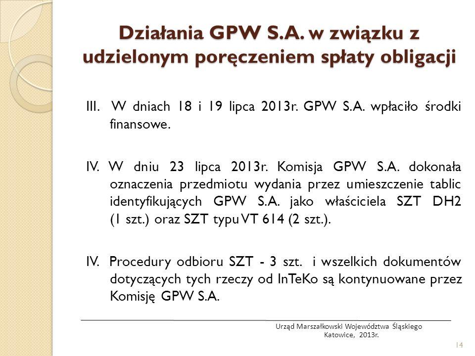 III. W dniach 18 i 19 lipca 2013r. GPW S.A. wpłaciło środki finansowe. IV. W dniu 23 lipca 2013r. Komisja GPW S.A. dokonała oznaczenia przedmiotu wyda
