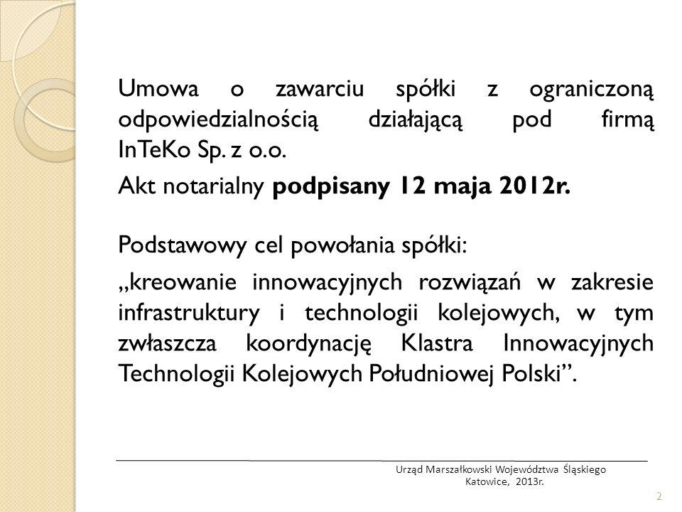 Umowa o zawarciu spółki z ograniczoną odpowiedzialnością działającą pod firmą InTeKo Sp. z o.o. Akt notarialny podpisany 12 maja 2012r. Podstawowy cel