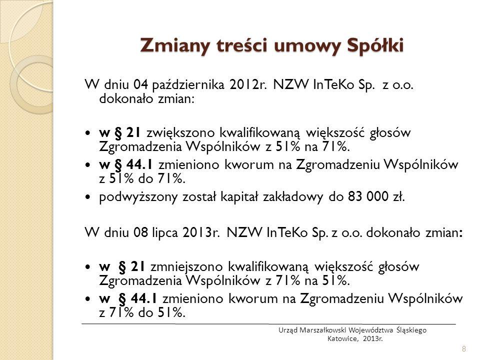 Zmiany treści umowy Spółki W dniu 04 października 2012r. NZW InTeKo Sp. z o.o. dokonało zmian: w § 21 zwiększono kwalifikowaną większość głosów Zgroma