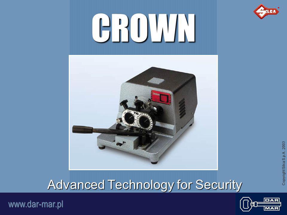 Copyright Silca S.p.A.2003 Maszyna do dorabiania kluczy okrągłuch z nacięciami od czoła.