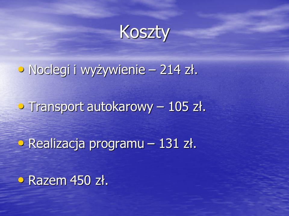 Koszty Noclegi i wyżywienie – 214 zł.Noclegi i wyżywienie – 214 zł.