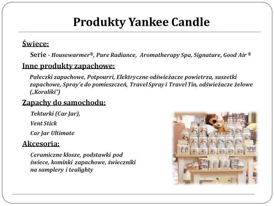 Produkty Yankee Candle Świece: Serie - Housewarmer ®, Pure Radiance, Aromatherapy Spa, Signature, Good Air ® Inne produkty zapachowe: Pałeczki zapachowe, Potpourri, Elektryczne odświeżacze powietrza, saszetki zapachowe, Spraye do pomieszczeń, Travel Spray i Travel Tin, odświeżacze żelowe (Koraliki) Zapachy do samochodu: Tekturki (Car Jar), Vent Stick Car Jar Ultimate Akcesoria: Ceramiczne klosze, podstawki pod świece, kominki zapachowe, świeczniki na samplery i tealighty