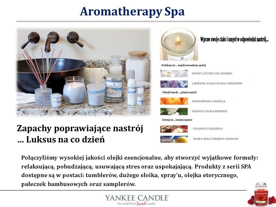 Aromatherapy Spa Połączyliśmy wysokiej jakości olejki esencjonalne, aby stworzyć wyjątkowe formuły: relaksującą, pobudzającą, usuwającą stres oraz uspokajającą.