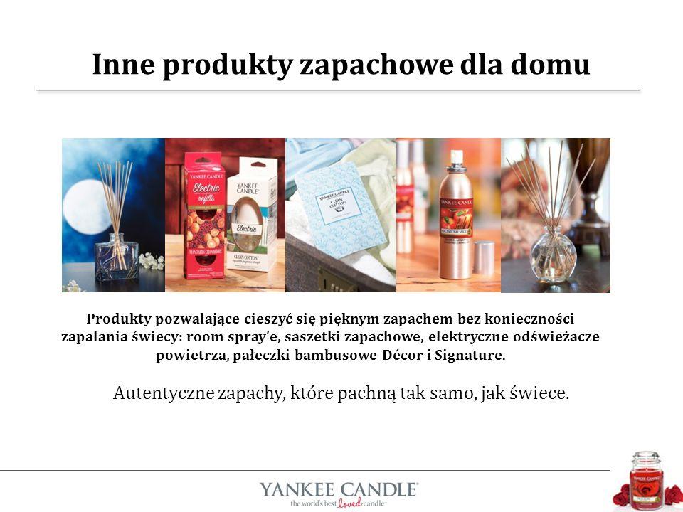 Inne produkty zapachowe dla domu Produkty pozwalające cieszyć się pięknym zapachem bez konieczności zapalania świecy: room spraye, saszetki zapachowe, elektryczne odświeżacze powietrza, pałeczki bambusowe Décor i Signature.